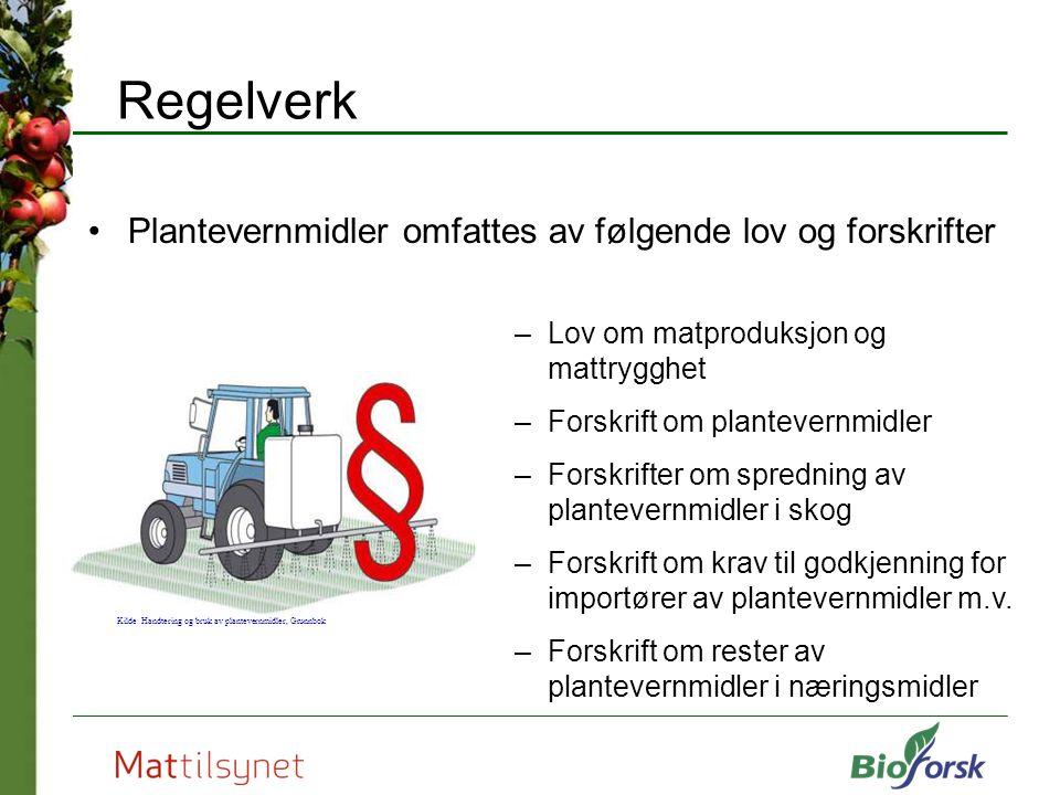 Regelverk Plantevernmidler omfattes av følgende lov og forskrifter