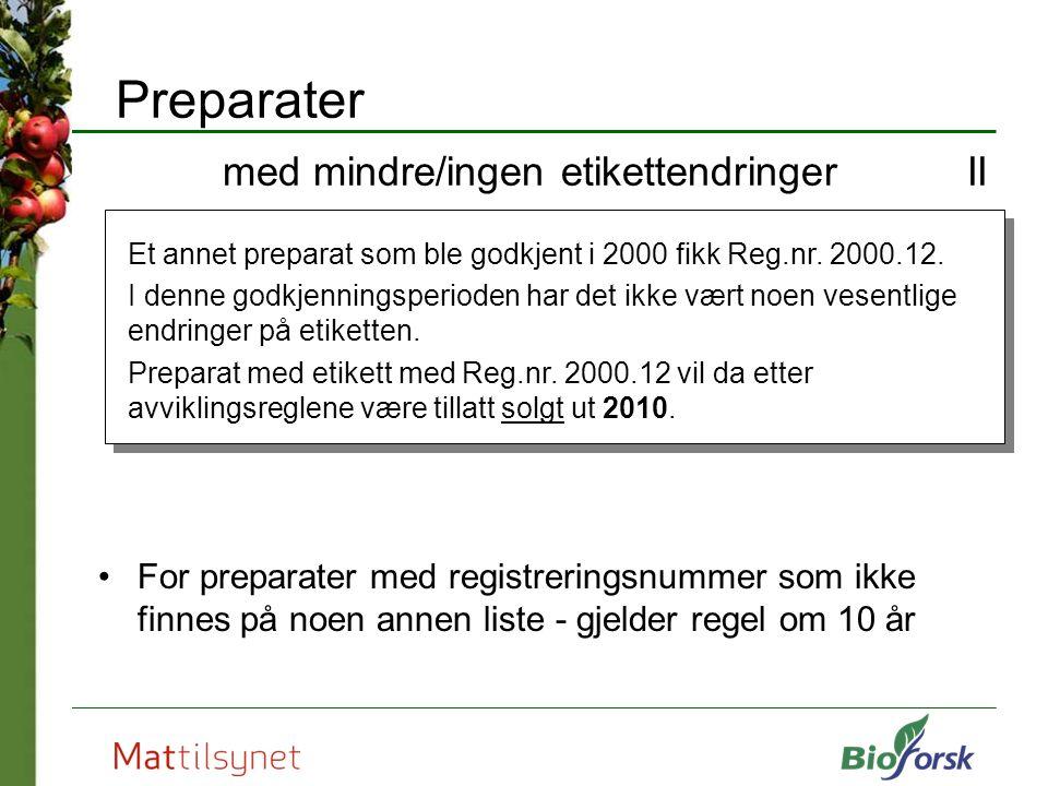 Preparater med mindre/ingen etikettendringer II
