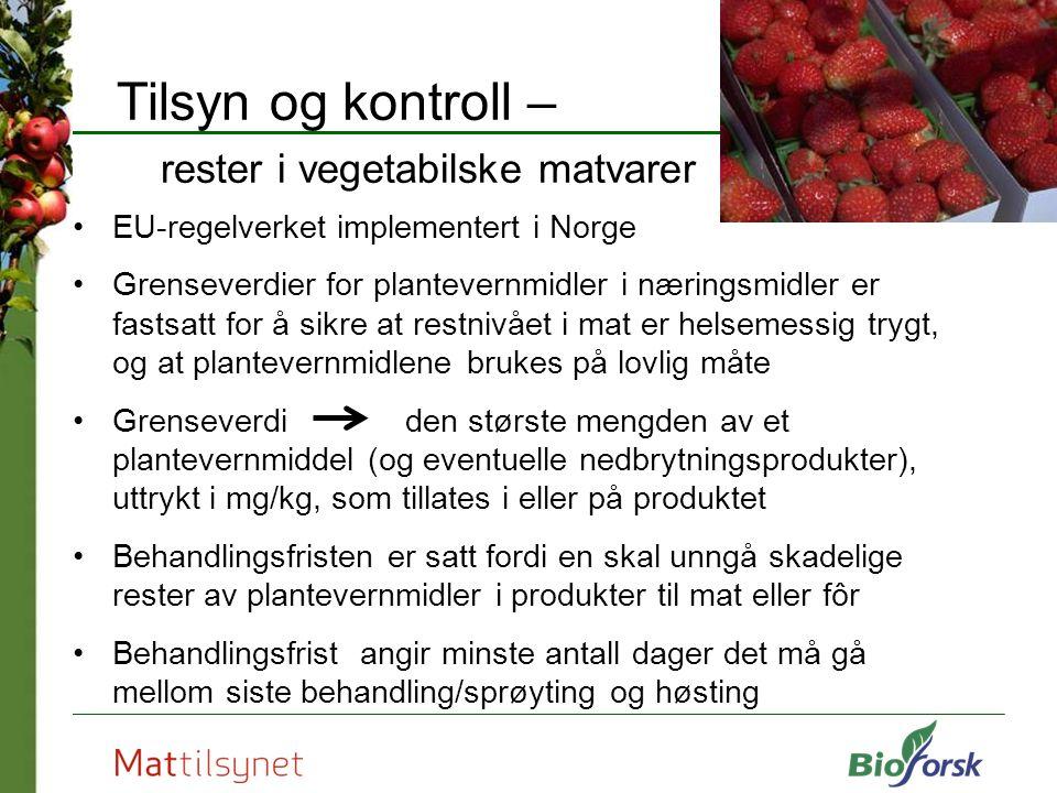 Tilsyn og kontroll – rester i vegetabilske matvarer I