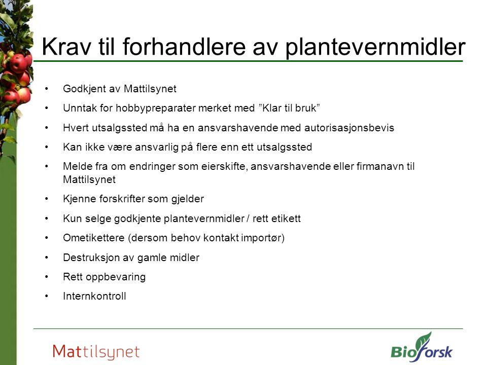 Krav til forhandlere av plantevernmidler