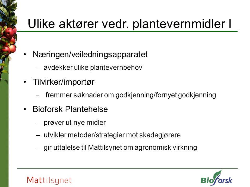 Ulike aktører vedr. plantevernmidler I