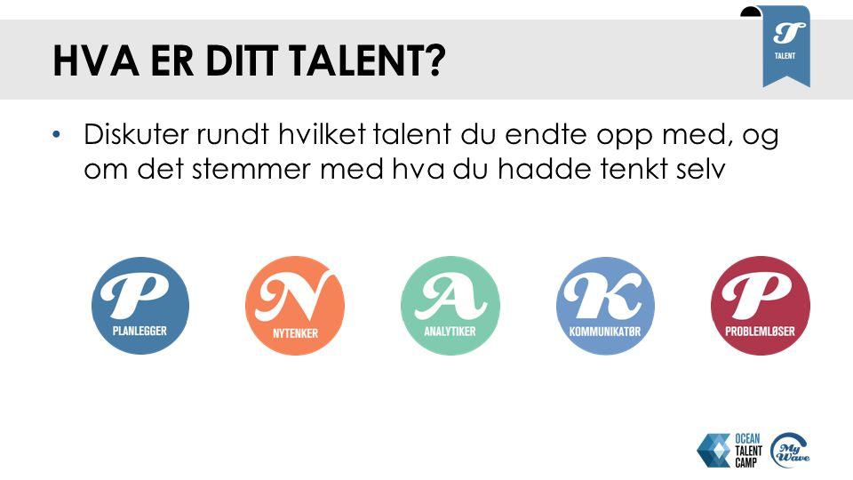 Hva er ditt talent Diskuter rundt hvilket talent du endte opp med, og om det stemmer med hva du hadde tenkt selv.