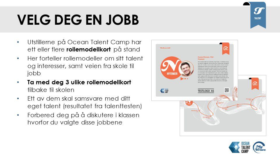 velg deg en jobb Utstillerne på Ocean Talent Camp har ett eller flere rollemodellkort på stand.