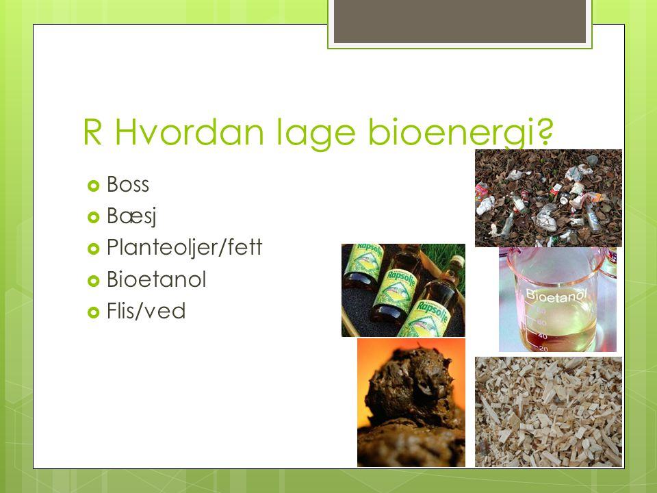 R Hvordan lage bioenergi