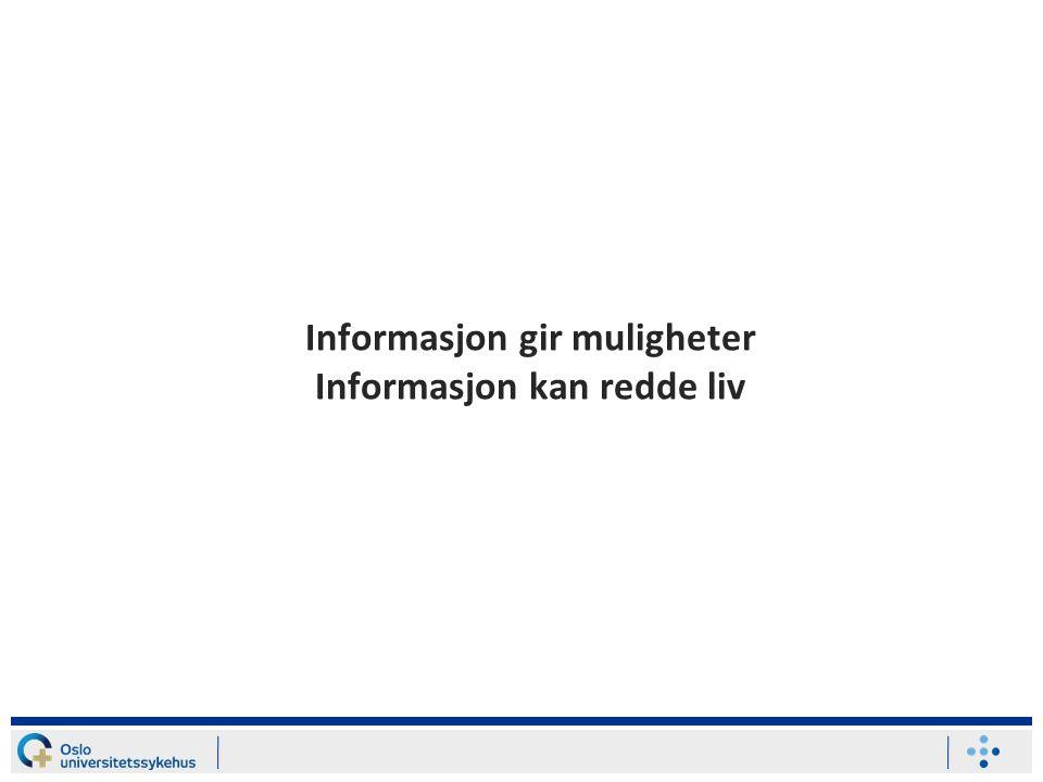Informasjon gir muligheter Informasjon kan redde liv