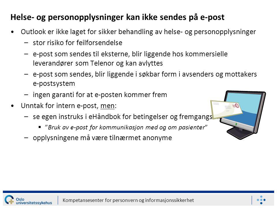 Helse- og personopplysninger kan ikke sendes på e-post