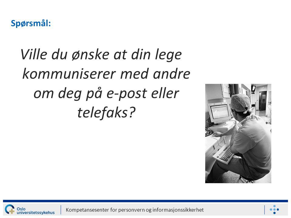 Spørsmål: Ville du ønske at din lege kommuniserer med andre om deg på e-post eller telefaks