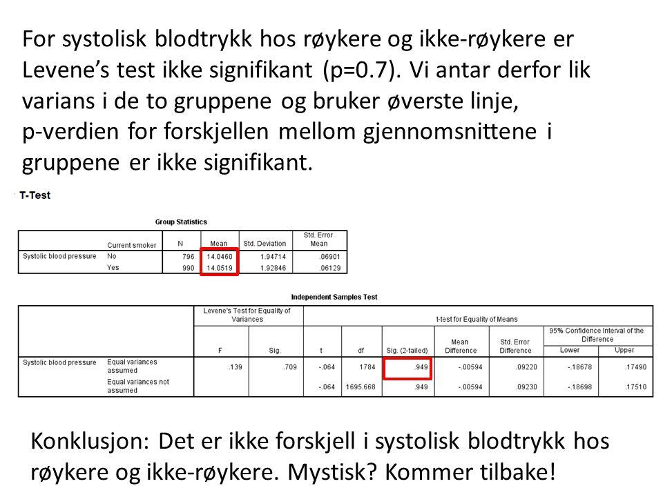 For systolisk blodtrykk hos røykere og ikke-røykere er Levene's test ikke signifikant (p=0.7). Vi antar derfor lik varians i de to gruppene og bruker øverste linje,
