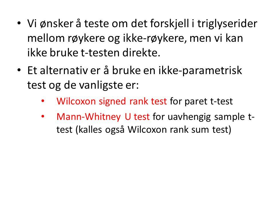 Et alternativ er å bruke en ikke-parametrisk test og de vanligste er: