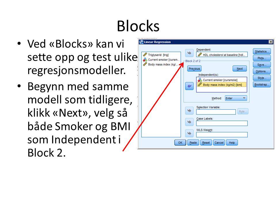 Blocks Ved «Blocks» kan vi sette opp og test ulike regresjonsmodeller.