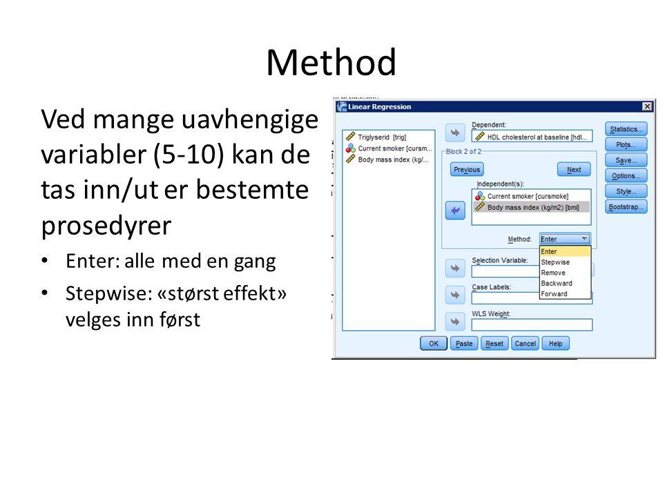 Method Ved mange uavhengige variabler (5-10) kan de tas inn/ut er bestemte prosedyrer. Enter: alle med en gang.