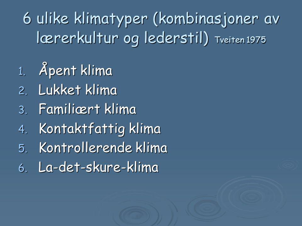 6 ulike klimatyper (kombinasjoner av lærerkultur og lederstil) Tveiten 1975