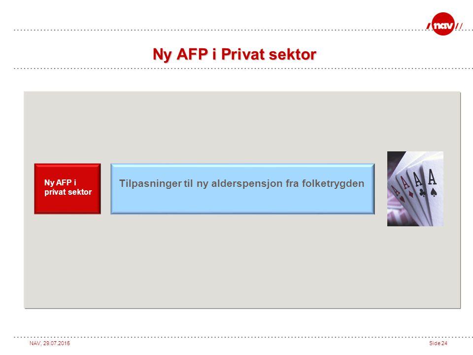 Ny AFP i Privat sektor Ny AFP i privat sektor Tilpasninger til ny alderspensjon fra folketrygden 24