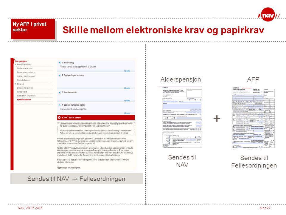 + Skille mellom elektroniske krav og papirkrav Alderspensjon AFP
