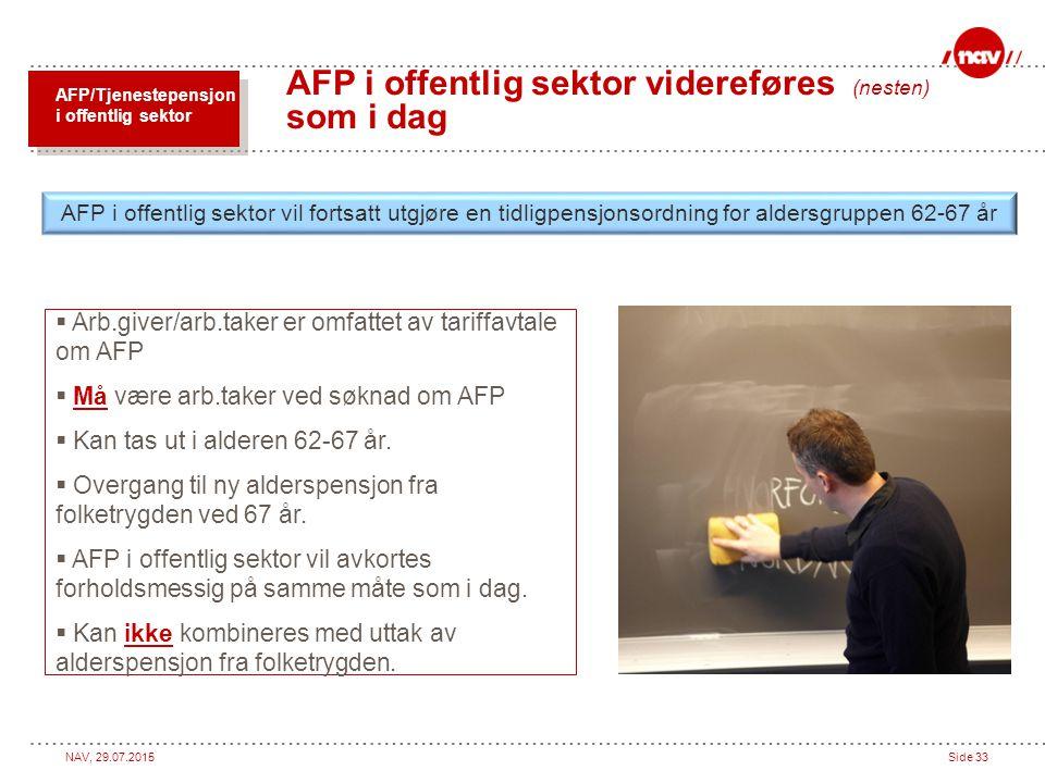 AFP i offentlig sektor videreføres (nesten) som i dag