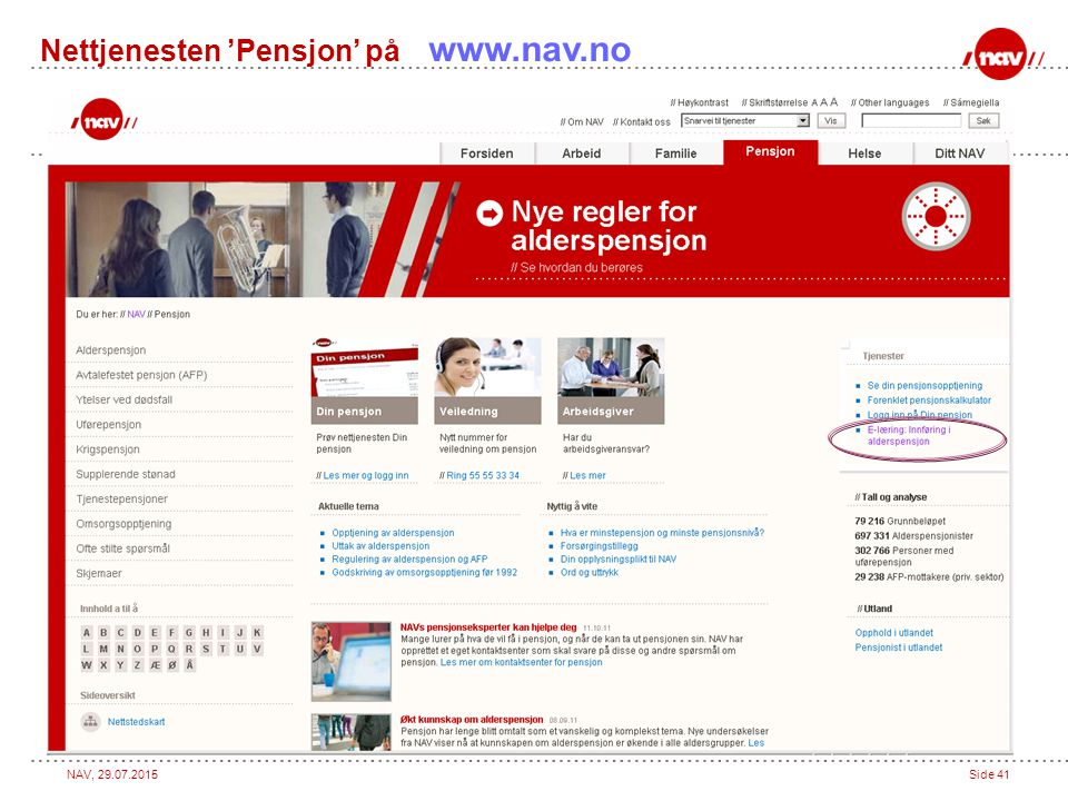 Nettjenesten 'Pensjon' på www.nav.no