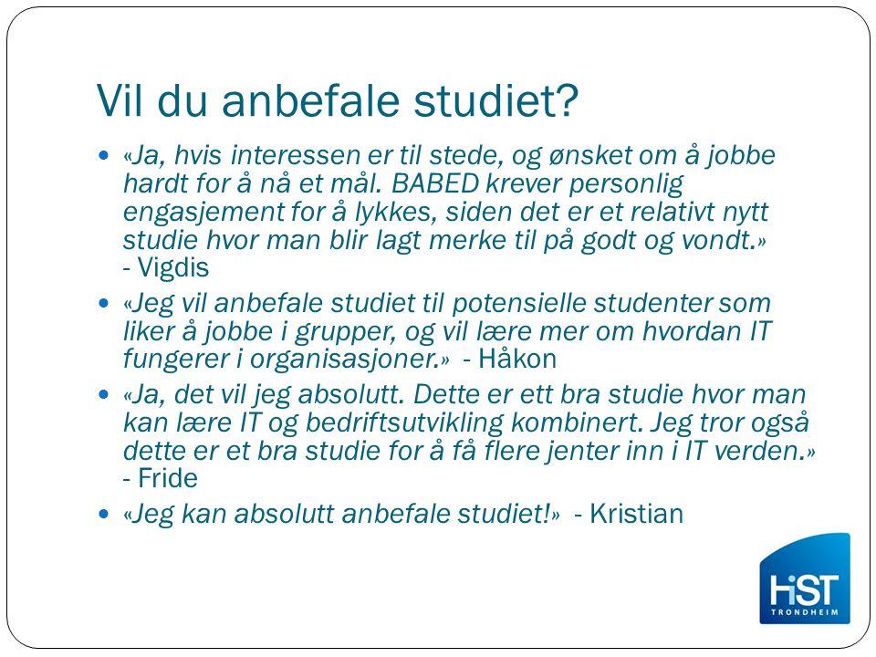 Vil du anbefale studiet