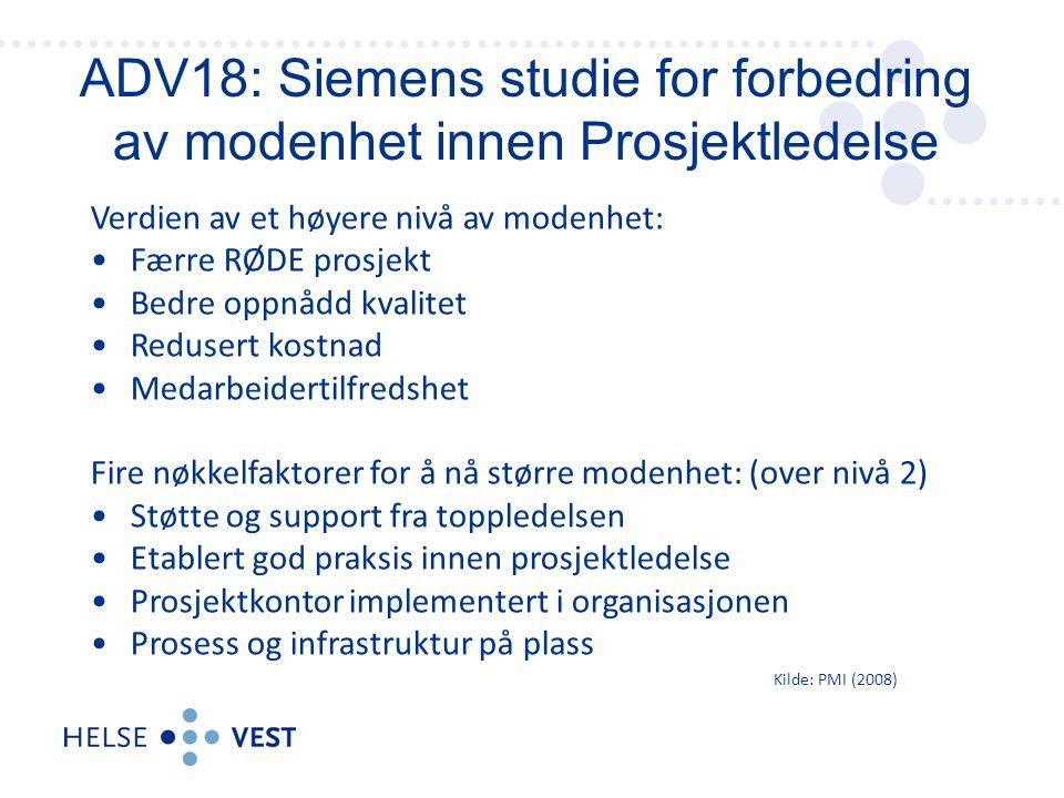ADV18: Siemens studie for forbedring av modenhet innen Prosjektledelse