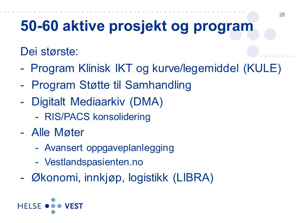 50-60 aktive prosjekt og program
