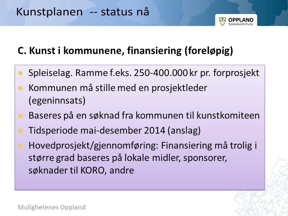 C. Kunst i kommunene, finansiering (foreløpig)