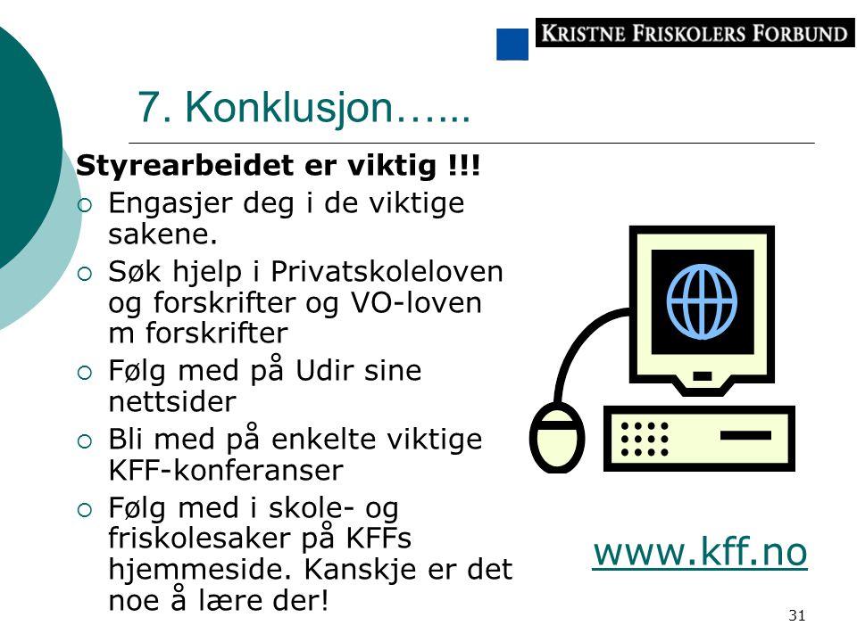 7. Konklusjon…... www.kff.no Styrearbeidet er viktig !!!