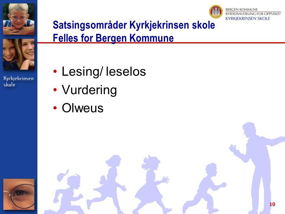 Satsingsområder Kyrkjekrinsen skole Felles for Bergen Kommune