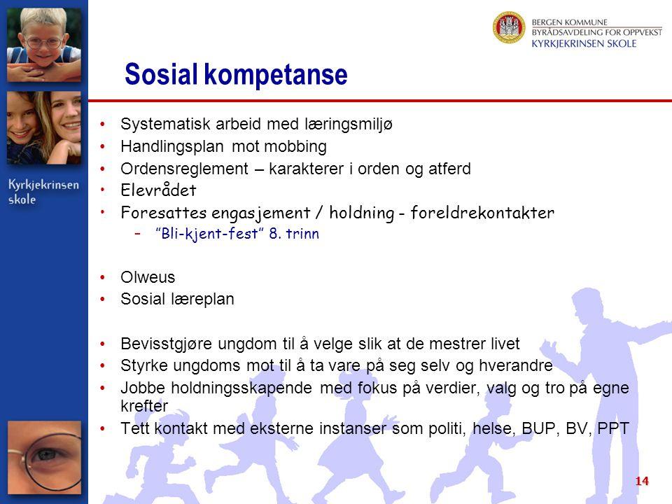 Sosial kompetanse Systematisk arbeid med læringsmiljø