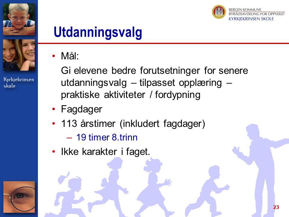 Utdanningsvalg Mål: Gi elevene bedre forutsetninger for senere utdanningsvalg – tilpasset opplæring – praktiske aktiviteter / fordypning.