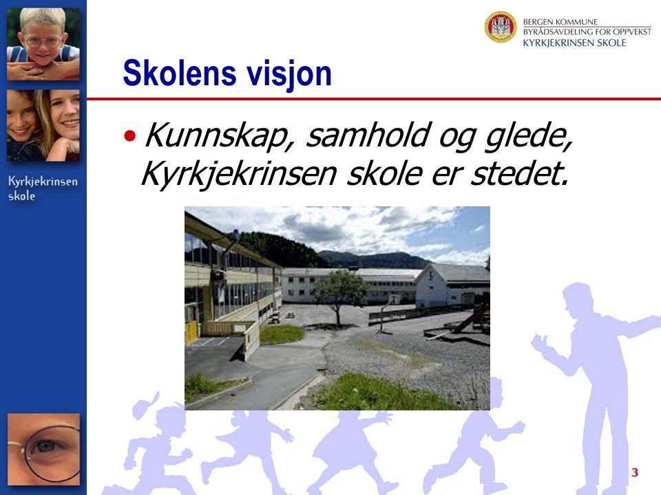 Skolens visjon Kunnskap, samhold og glede, Kyrkjekrinsen skole er stedet.