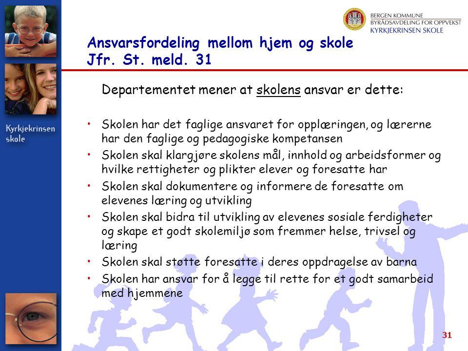Ansvarsfordeling mellom hjem og skole Jfr. St. meld. 31