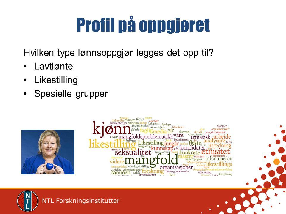 Profil på oppgjøret Hvilken type lønnsoppgjør legges det opp til