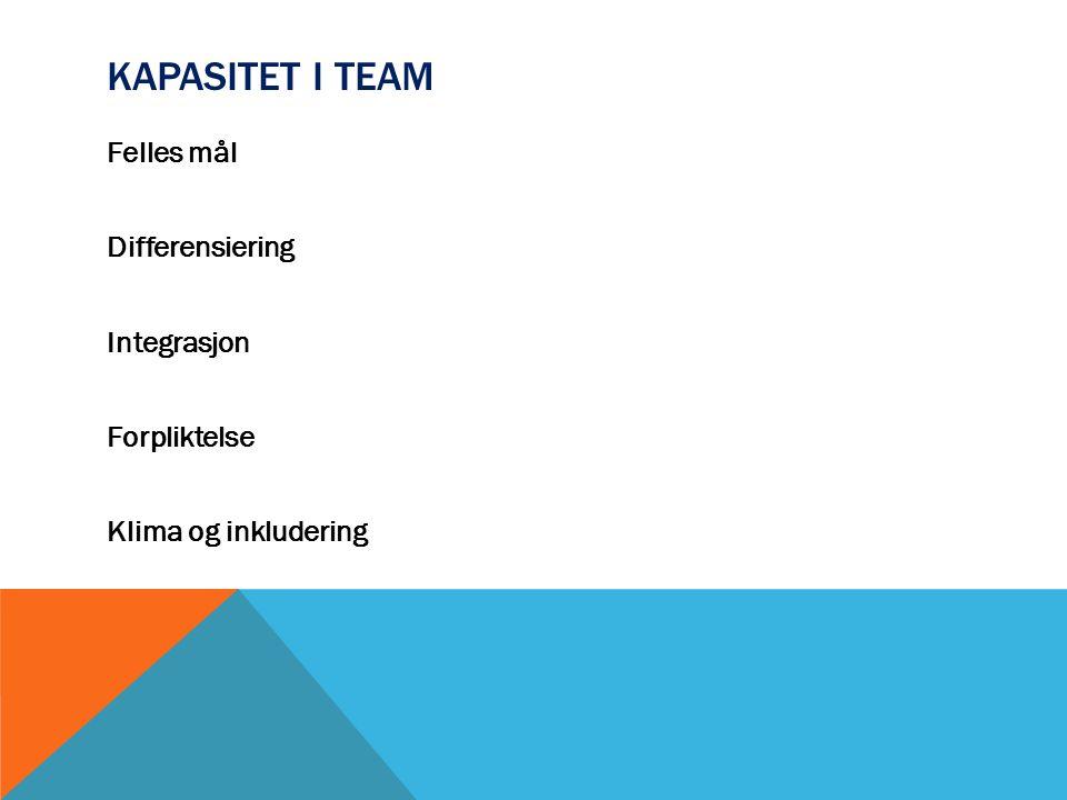Kapasitet i team Felles mål Differensiering Integrasjon Forpliktelse Klima og inkludering