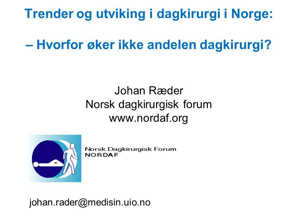Trender og utviking i dagkirurgi i Norge: – Hvorfor øker ikke andelen dagkirurgi Johan Ræder Norsk dagkirurgisk forum www.nordaf.org
