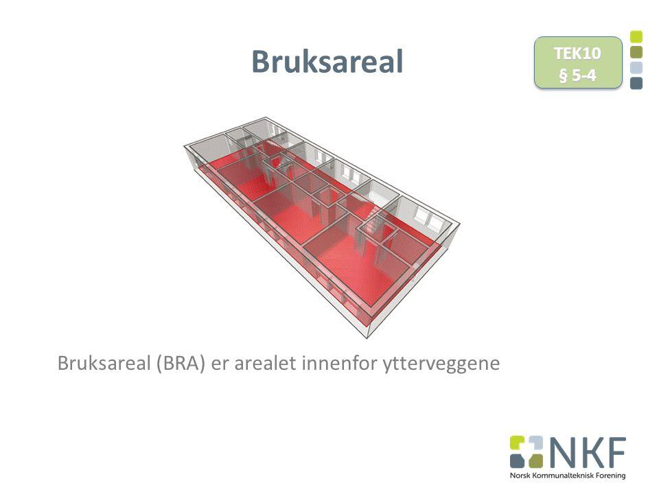 Bruksareal Bruksareal (BRA) er arealet innenfor ytterveggene TEK10