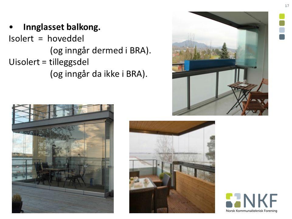 • Innglasset balkong. Isolert = hoveddel (og inngår dermed i BRA).
