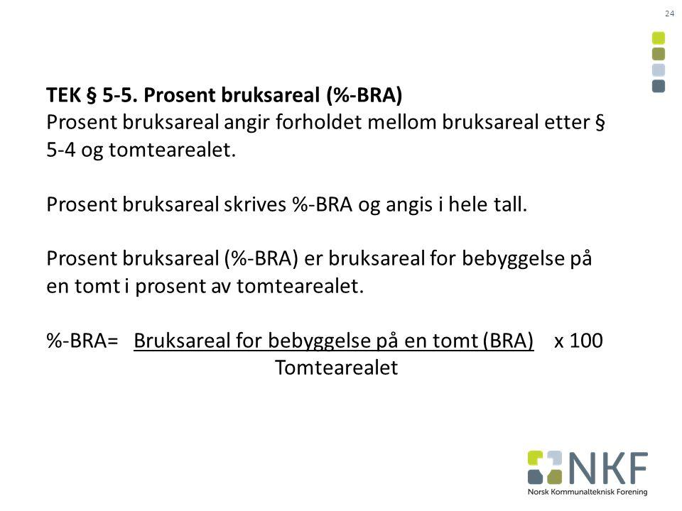 TEK § 5-5. Prosent bruksareal (%-BRA)