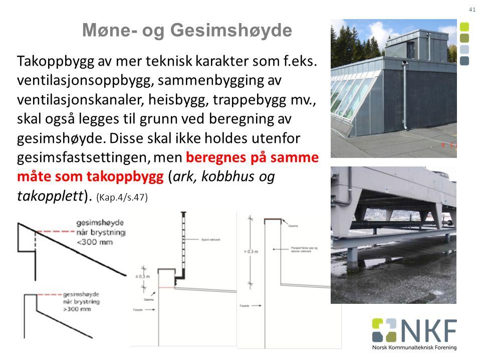 Møne- og Gesimshøyde Takoppbygg av mer teknisk karakter som f.eks.