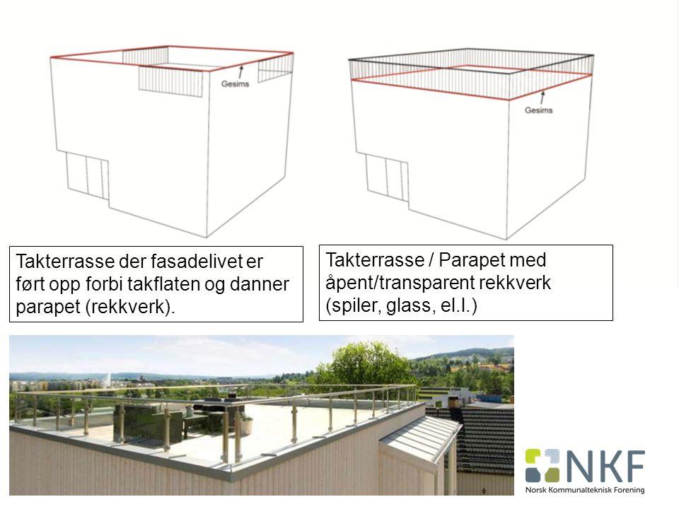 Takterrasse der fasadelivet er ført opp forbi takflaten og danner parapet (rekkverk).