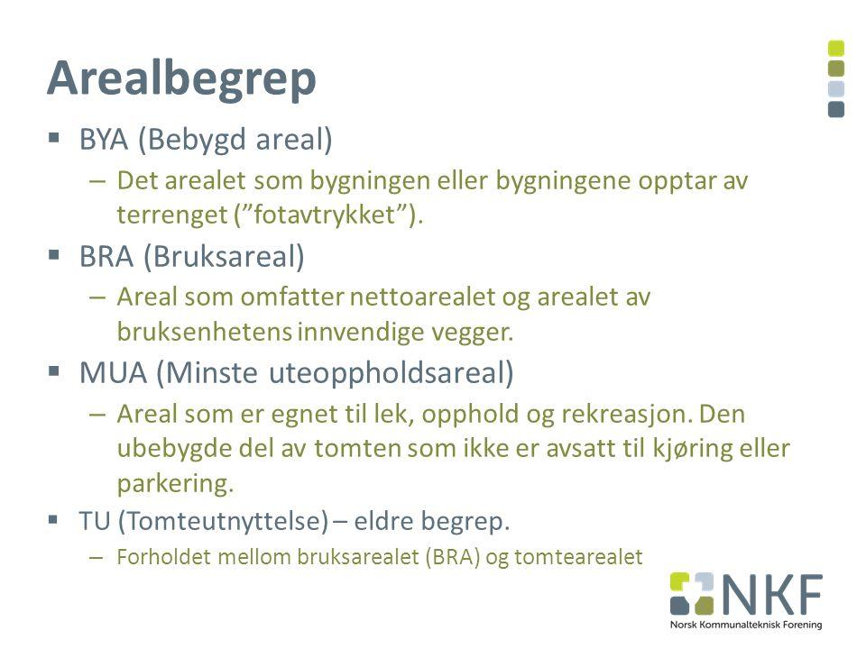 Arealbegrep BYA (Bebygd areal) BRA (Bruksareal)