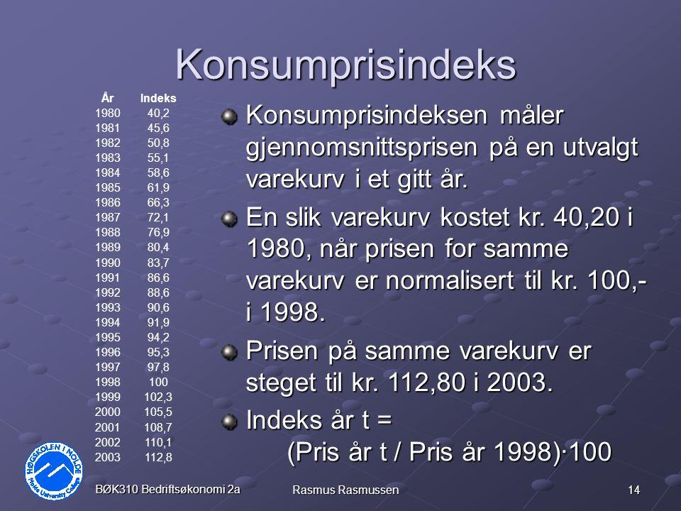 Konsumprisindeks År. Indeks. 1980. 40,2. 1981. 45,6. 1982. 50,8. 1983. 55,1. 1984. 58,6.