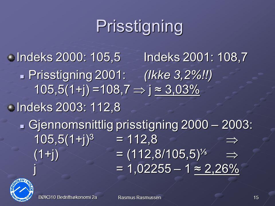Prisstigning Indeks 2000: 105,5 Indeks 2001: 108,7