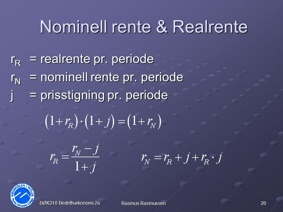 Nominell rente & Realrente