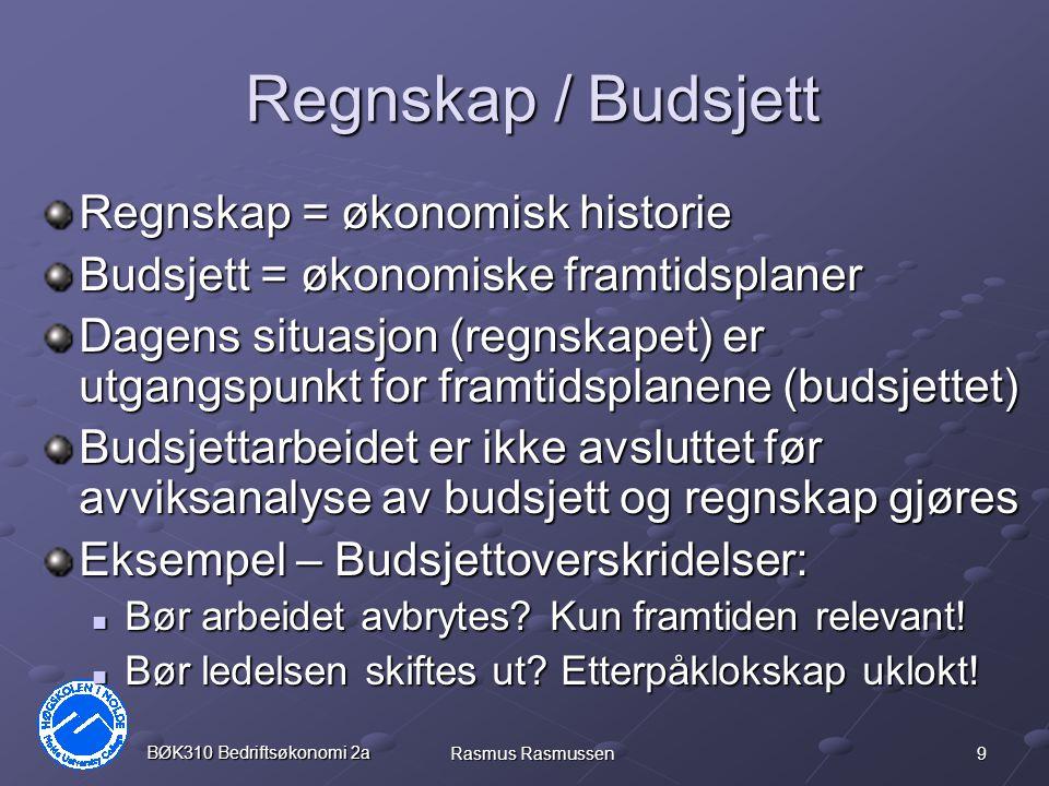 Regnskap / Budsjett Regnskap = økonomisk historie
