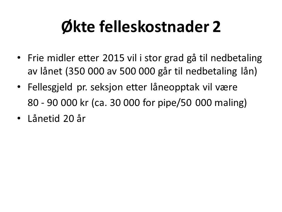 Økte felleskostnader 2 Frie midler etter 2015 vil i stor grad gå til nedbetaling av lånet (350 000 av 500 000 går til nedbetaling lån)