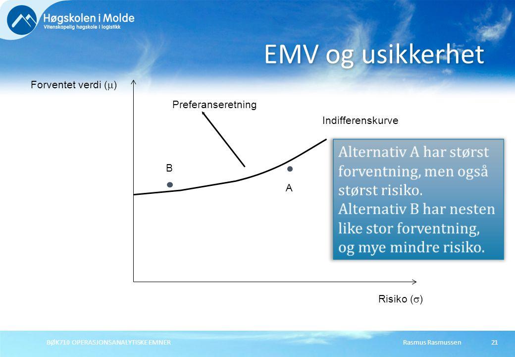 EMV og usikkerhet Forventet verdi (m) Preferanseretning. Indifferenskurve. Alternativ A har størst forventning, men også størst risiko.