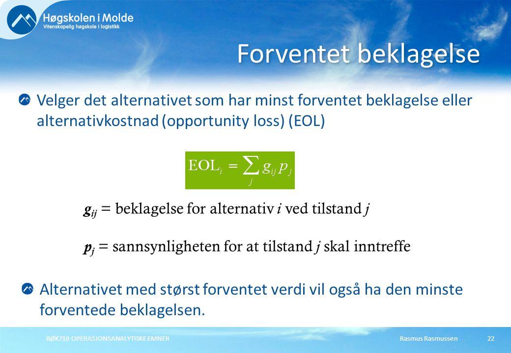 Forventet beklagelse Velger det alternativet som har minst forventet beklagelse eller alternativkostnad (opportunity loss) (EOL)