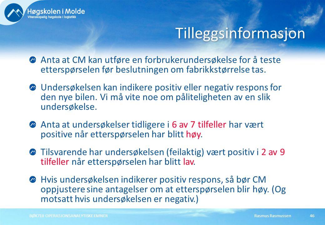 Tilleggsinformasjon Anta at CM kan utføre en forbrukerundersøkelse for å teste etterspørselen før beslutningen om fabrikkstørrelse tas.