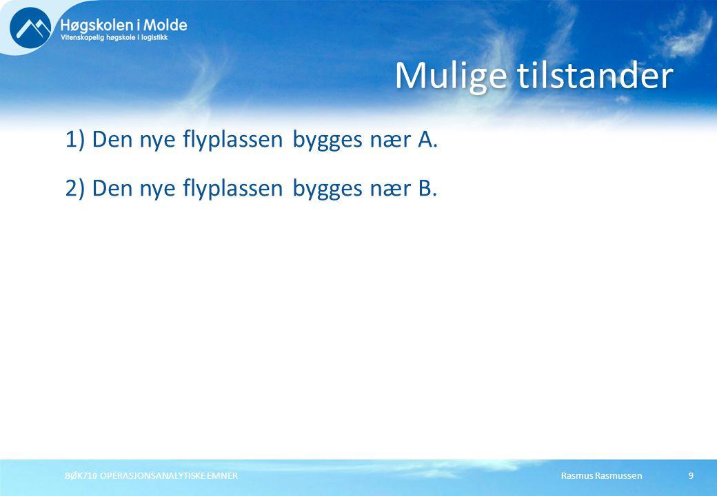 Mulige tilstander 1) Den nye flyplassen bygges nær A. 2) Den nye flyplassen bygges nær B. BØK710 OPERASJONSANALYTISKE EMNER.