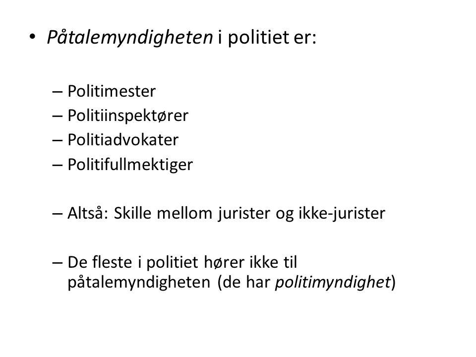 Påtalemyndigheten i politiet er: