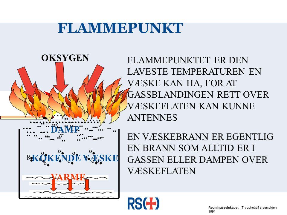 FLAMMEPUNKT OKSYGEN. FLAMMEPUNKTET ER DEN LAVESTE TEMPERATUREN EN VÆSKE KAN HA, FOR AT GASSBLANDINGEN RETT OVER VÆSKEFLATEN KAN KUNNE ANTENNES.